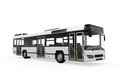 City bus on white background d render Royalty Free Stock Image