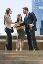 City Business Man Woman Team Shaking Hands Royalty Free Stock Photo