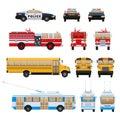 City cars, transport- fire service, school bus, rescue service, police.