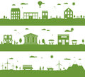 City with cartoon houses green eco panorama illustration Royalty Free Stock Images