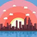 City cartoon vector background illustration view wallpaper Royalty Free Stock Photo