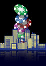 City casino illustration of with colorful chips Royalty Free Stock Image