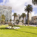 The city center of montevideo uruguay independence square in it is with statue artigas gate citadel executive tower Stock Photos