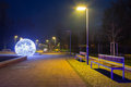 City center of pruszcz gdanski poland with christmas baubles Royalty Free Stock Images