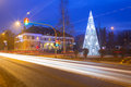 City center of pruszcz gdanski poland with christmas tree Royalty Free Stock Photo