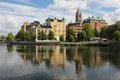 City centre and Motala river. Norrkoping. Sweden Royalty Free Stock Photo