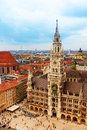 City centre of munich marienplatz new town hall neues rathaus glockenspiel bavaria germany Royalty Free Stock Image