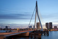 City centre of rotterdam in the evening erasmus bridge dutch erasmusbrug at dusk south holland netherlands Royalty Free Stock Photo