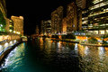 City of Chicago at night Royalty Free Stock Photo