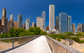 City of chicago usa panorama of downtown architecture on a beautiful summer day with blue sky Royalty Free Stock Photography