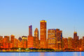City of chicago usa sunset colorful panorama skyline downtown with illuminated business buildings Royalty Free Stock Photos