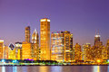 City of chicago usa sunset colorful panorama skyline downtown with illuminated business buildings Stock Photography