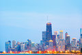 City of chicago usa sunset colorful panorama skyline downtown with illuminated business buildings Stock Image