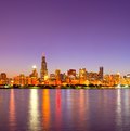 City of chicago usa sunset colorful panorama skyline downtown with illuminated business buildings with reflections Stock Photo