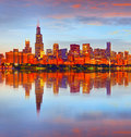 City of Chicago USA, at sunset Royalty Free Stock Photo