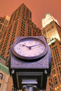 City Clock and Skyscrapers Royalty Free Stock Photo