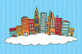 City in the clouds colorful Royalty Free Stock Images