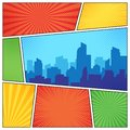 City on comic page. Comics book frames composition on strip halftone background. Cartoon books vector template layout