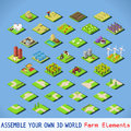 City complete set isometric map elements and tested new bright palette d flat vector icon agriculture rural farm building elements Stock Photography