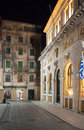 City of corfu at night buildings in the in greece Royalty Free Stock Photography