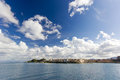 City of corfu view from the sea the beautiful town and sky with clouds island Royalty Free Stock Photography