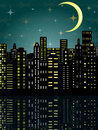 City in the dark vector illustration of Stock Photos