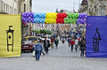 City day in lvov ukraine may on the of the of lviv the festively decorated with balloons and banners on may ukraine Stock Images
