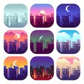 City day times. Early morning sunrise sunset, noon and dusk evening, night cityscape skyscrapers buildings. Urban set