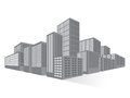 City Downtown Business District, Vector Flat Royalty Free Stock Photo