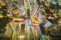 City downtown at night, Bird eyes view of Bangkok main traffic interchange, Long exposure Royalty Free Stock Photo