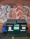 City: dumpster in alleyway Stock Images