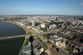City of dusseldorf germany as seen from the rhein tower rheinturm Stock Photography