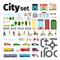 City elements isolated on white background. Urban transport and roads, buildings people life vector illustration Royalty Free Stock Photo