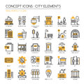 City Elements , Pixel Perfect Icons Royalty Free Stock Photo