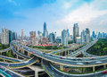 City elevated road junction at dusk panoramic view of in shanghai Stock Image