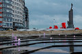 City embankment with famous sculpture in Ostend, Belgium Royalty Free Stock Photo