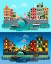 City Europe flat vector: river canal, bridge, historic buildings