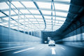 City expressway traffic in a steel structure futuristic construction Stock Photo