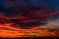 City at fiery sunset