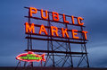 City fish public market neon sign seattle washington the in is a great place to buy items and visit Stock Images