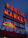 City Fish Public Market Neon Sign Seattle Washington Royalty Free Stock Photo