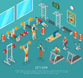 City Fitness Gym Center Isometric POster