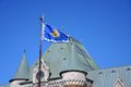 City flag quebec front gare du palais quebec city quebec canada gare du palais quebec city train station downtown quebec city Stock Photography