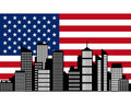 City and flag of USA Royalty Free Stock Photo