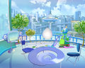 City of the future in children s fantasies digital painting illustration a colorful futuristic view a cartoon style artwork scene Stock Photos