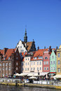 City gdansk danzig poland view old town houses motlawa river embankment Royalty Free Stock Photos