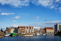 City of gdansk skyline in poland ships yachts and apartment buildings the marina on the motlawa river Stock Photos