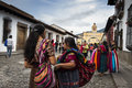 City of guatemala women dressed with the typical clothes used in in one the beautiful plaza antigua Royalty Free Stock Image