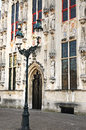 City hall bruges detail on burgplatz belgium Stock Photo