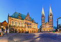 City hall and the cathedral of bremen germany at night Royalty Free Stock Photo